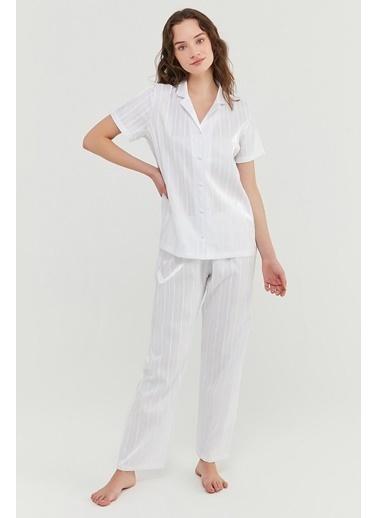 Penti Optik Beyaz Bridal Satin Gömlek Pantolon Takımı Beyaz